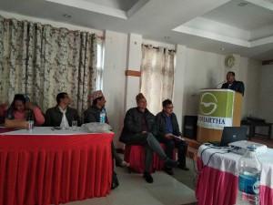 Mr.Siva-Narayan-Chaudhary-,Secretory-of-MOLMAC-Surkhet-presenting-paper-on-workshop