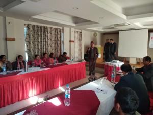 Mr. Laxmikanta Dhakal Presedent SEAN presenting paper on Surkhet workshop